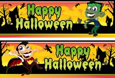 Free Little Vampire And Frankenstein Halloween Banners Royalty Free Stock Photos - 27019108