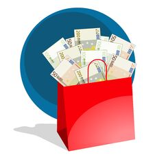 Free Shopping Bag Full Of Money Stock Photo - 27019710
