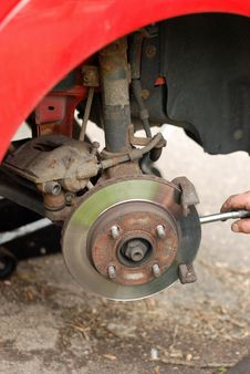 Free Mechanic Removing Brake Pads From Old Disc Brake. Stock Photos - 27019933