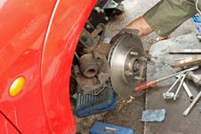 Free New Ventilated Disc Brake Fitted To Wheel. Stock Photography - 27020092