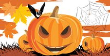 Free Halloween Pumpkins, Bat And Spiders Royalty Free Stock Photography - 27021797