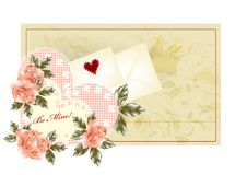 Greeting Valentine Card With  Pink Roses Royalty Free Stock Photo