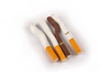 Free Bent And Broken Cigarettes On A White Background Royalty Free Stock Images - 27030779