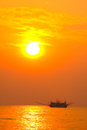 Free Fishing Boat In Sunset Silhouette Stock Image - 27033851