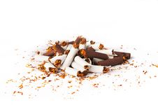 Free Pile Of White And Brown Broken Cigarettes Stock Image - 27030751