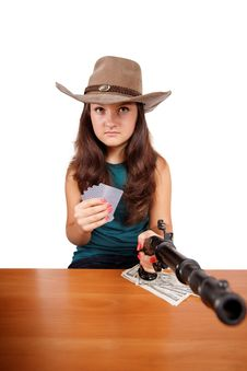 Free Cowboy Girl With Gun Isolated Royalty Free Stock Photo - 27031105