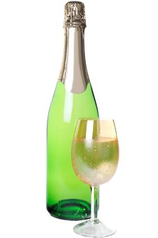 Free With A Glass Of Champagne Isolated Royalty Free Stock Photography - 27031267