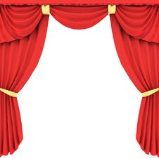 Free Red Curtain In 3D Stock Image - 27032301
