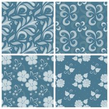 Free Set Of Ornated Floral Seamless Texture Stock Image - 27032461