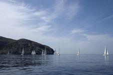Yachts At Coast Of Greece Royalty Free Stock Image