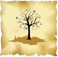 Free Abstract Tree On Old Paper Background Stock Photos - 27036443