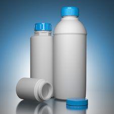 Free Pill Bottles On Blue Background. Stock Image - 27040741