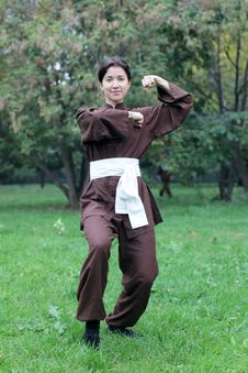 Free Woman Practicing Kung Fu Royalty Free Stock Image - 27042866