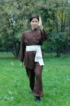 Free Woman Practicing Kung Fu Stock Photos - 27042883