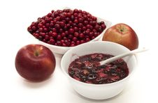 Red Cranberries And Apples. Stock Photo