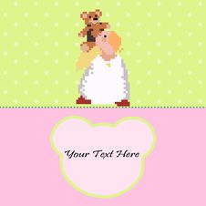 Free Angel With A Teddy Bear Vector Card Stock Image - 27046321