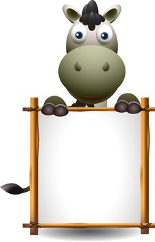 Free Cute Donkey Cartoon With Blank Sign Royalty Free Stock Images - 27048289