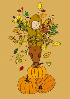 Autumn-Boy-The-Pumpkin-King Royalty Free Stock Image