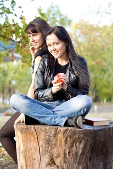 Free Young Woman Eating An Apple Stock Images - 27051054