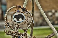 A Handmade Dreamcatcher Is On Display. Stock Photos