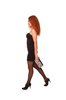 Walking Young Red-haired Woman Stock Photography