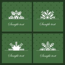 Free Four Snowflakes On The Green Background Stock Image - 27065801