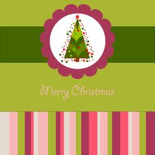 Free Colorful Christmas Card With A Tree Royalty Free Stock Photos - 27065818