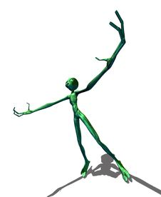 Free Green Alien With Hands Raised Stock Image - 27067061