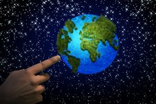Free Pointing The Earth Stock Images - 27067204
