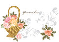 Free Elegant Card With Beige And Pink Roses Royalty Free Stock Images - 27071659