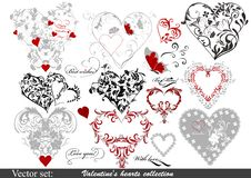 Collection Of Valentine S Hearts For Design Stock Photos