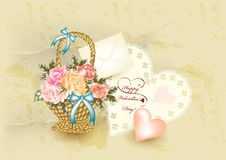 Greeting Valentine Card In Vintage Style Stock Photos