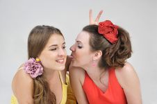Free Two Funny Girls Friends. Royalty Free Stock Images - 27073429