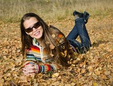 Free The Beautiful Girl On Autumn Walk Stock Images - 27073964