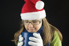 Free Young Girl Wearing Winter Clothing Holding Cup Royalty Free Stock Images - 27074589