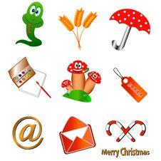 Nine Unique Icons Stock Image