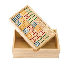Wooden Domino In Box Royalty Free Stock Photography