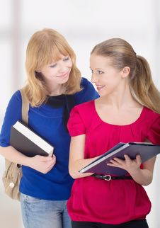 Two Attractive Girlfriends, College Students Stock Photos