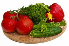 Group Of Vegetables On Cutting Board Stock Images