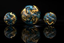 Free Gold And Blue Marbles Royalty Free Stock Image - 27081036