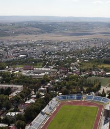 Aerial View With Stadium Stock Photo