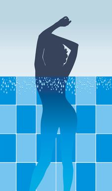 Free Female Silhouette In Pool Royalty Free Stock Photography - 27087497