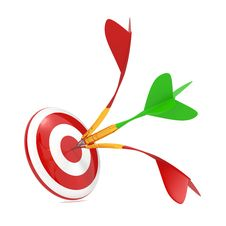 Dart Hitting A Target, Isolated On White. Royalty Free Stock Photos