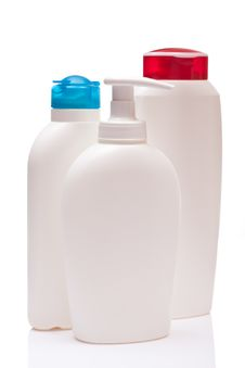 Free Three White Blank Bottle Royalty Free Stock Images - 27088189