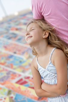 Portrait Of Pretty Blonde Girl Resting Stock Images