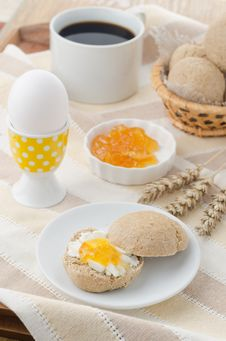 Free Breakfast With Muffin, Cheese, Jam And Egg Stock Photos - 27091223