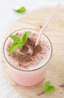 Free Watermelon Cocktail With Milk And Mint Royalty Free Stock Photography - 27091777