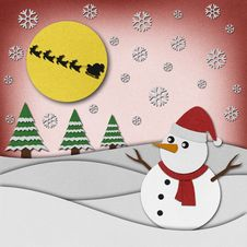 Free Snowman Recycled Paper Craft On Paper Background. Royalty Free Stock Photography - 27094087