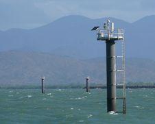 Sea Lighthouse On Solar Bat. Stock Photo