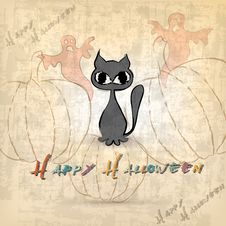 Free Halloween Background With Cat Royalty Free Stock Photos - 27098108